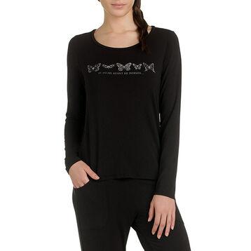 T-shirt de pyjama manches longues noir en modal Femme-DIM