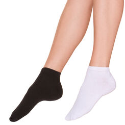 Lot de 2 paires invisibles en coton noire et blanche Femme-DIM