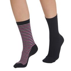 Lot de 2 paires de chaussettes noires rayées Femme-DIM