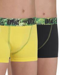 Lot de 2 boxers jaune et noir en coton stretch DIM Boy-DIM