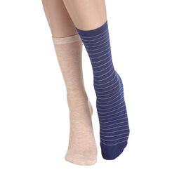 Lot de 2 paires de chaussettes bleu nuit et beige Femme-DIM