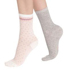 Lot de 2 paires de chaussettes beiges géométriques Femme-DIM