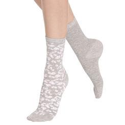 Lot de 2 paires de chaussettes grises à motif animal Femme-DIM