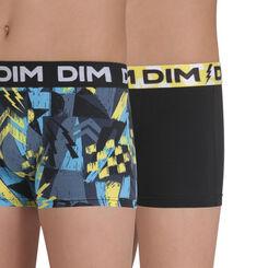 Lot de 2 boxers imprimé bleu et noir coton stretch DIM Boy-DIM