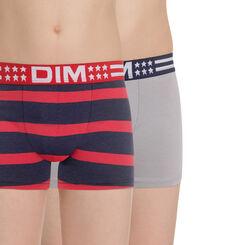 Lot de 2 boxers gris et imprimé rayures Campus DIM Boy-DIM