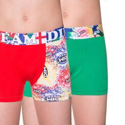 Lot de 2 boxers vert et rouge édition rugby DIM Boy-DIM