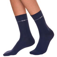Mi-chaussettes seconde peau bleu marine Femme-DIM