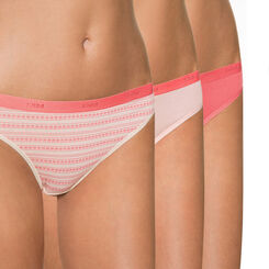 Lot de 3 slips Femme imprimé rose Les Pockets Coton-DIM