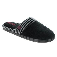 Chaussons pantoufles noirs avec détail rayé en velours Homme-DIM
