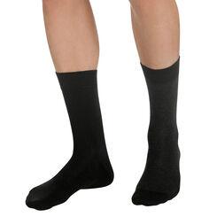 Lot de 2 paires de chaussettes noires à rayures Homme-DIM