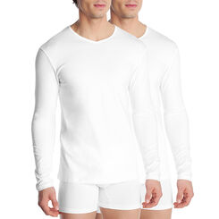 Lot de 2 T-shirts blancs manches longues Dry & Cool-DIM
