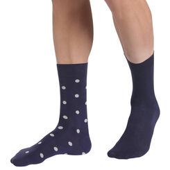 Lot de 2 chaussettes bleues unis et motif pois Homme-DIM