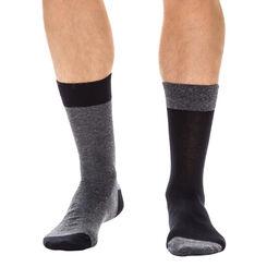 Lot de 2 paires de chaussettes anthracite et noir Homme-DIM