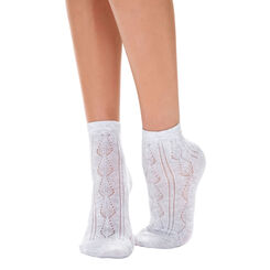 Lot de 2 paires de socquettes grises maille ajourée Femme-DIM
