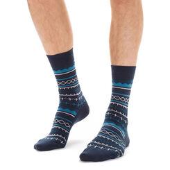 Chaussettes bleu marine avec laine motif hivernal Homme-DIM