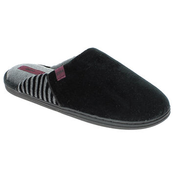 Chaussons pantoufles noirs et gris en velours Homme-DIM