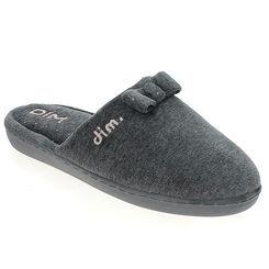Pantoufles en velours plates grises Femme-DIM