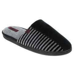 Chaussons pantoufles noirs rayés en velours Homme-DIM
