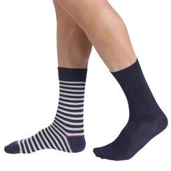 Lot de 2 chaussettes bleues unis et motif rayures Homme-DIM