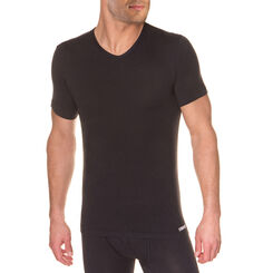 T-shirt noir col en V Thermal Effect-DIM