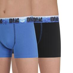 Lot de 2 boxers bleu et noir en coton stretch DIM Boy-DIM