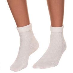 Mi-chaussettes cosy torsades vanilles Femme-DIM