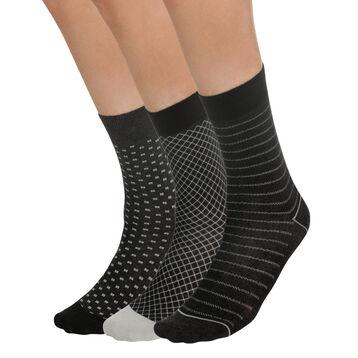 Lot de 3 paires de chaussettes noires à motifs Homme-DIM