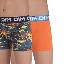 Lot de 2 boxers orange et imprimé en coton stretch DIM Boy-DIM