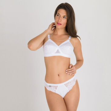 2 High-Leg briefs in White - Cotton & Lace -PLAYTEX