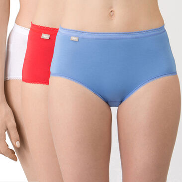 3 Midi Briefs in Blue, Red and White – Stretch Cotton-PLAYTEX