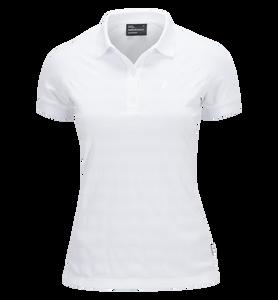 Randig golftröja i tekniskt material för damer