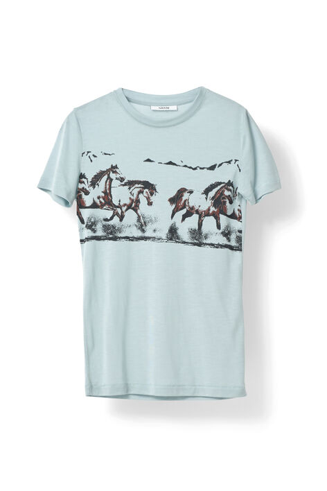 Linfield Lyocell T-shirt, Horse, Sterling Blue, hi-res