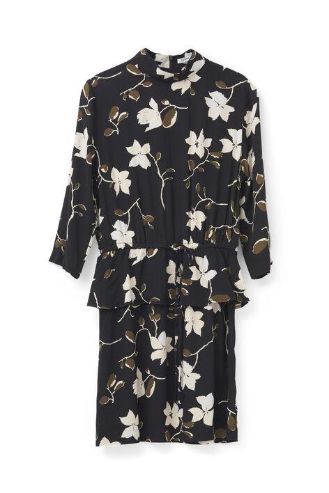 Rosemont Crepe Dress, Black Wild Rose, hi-res