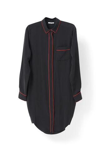 Grace Silk Shirt Dress, Black, hi-res