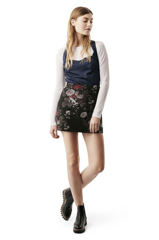 O'Donnell Brocade Skirt, Black Bouquet, hi-res