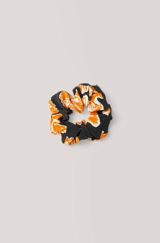Geroux Silk Scrunchie, Black, hi-res