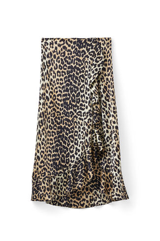 Dufort Silk Skirt, Leopard, hi-res