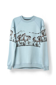 Jefferson Isoli Sweatshirt, Horse, Sterling Blue, hi-res