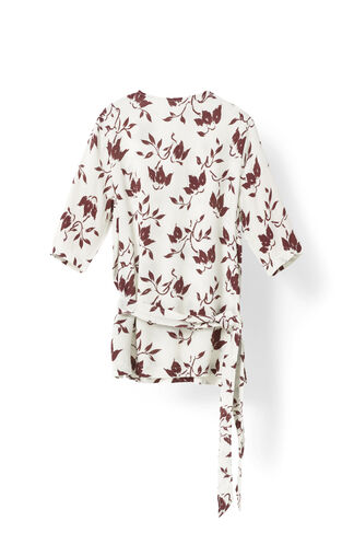 Maxwell Crepe Blouse, Cabernet Bell Flower, hi-res