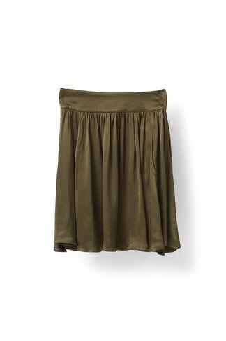 Sanders Satin Skirt, Dark Olive, hi-res