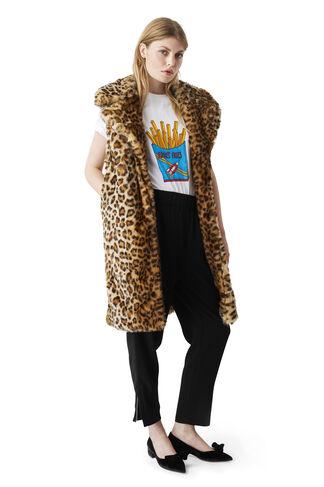 Ferris Faux Fur Waistcoat, Leopard, hi-res