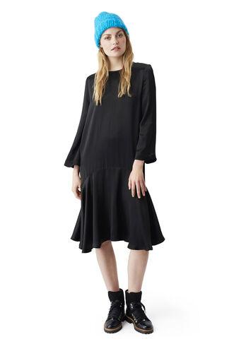 Sanders Satin Dress, Black, hi-res