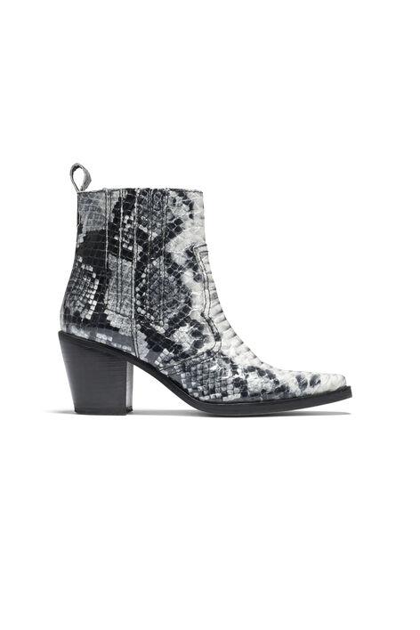 Nellie Ankle Boots, Black/White Snake, hi-res