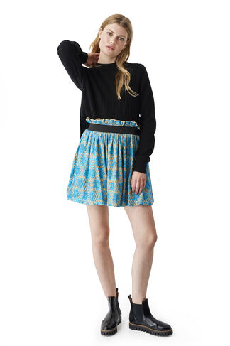 Emiko Jacquard Skirt, Biscotti, hi-res