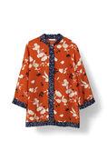 Sachi Silk Shirt, Red Clay Flower, hi-res