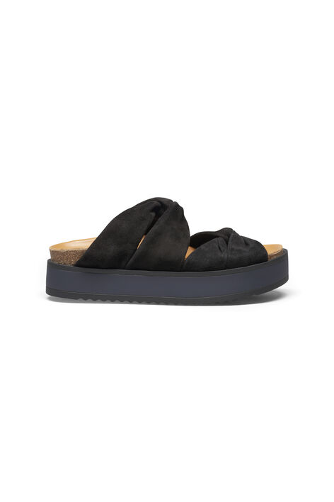 Saika Suede Sandals, Black, hi-res