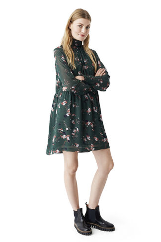 Marietta Georgette Dress, Pine Grove Leaves, hi-res