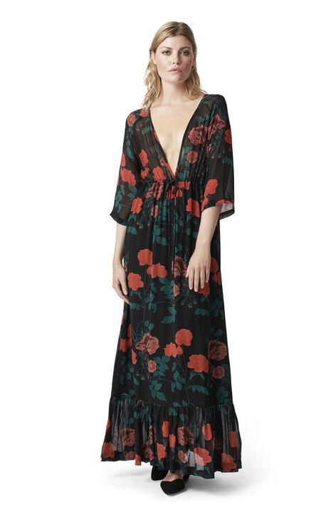 Newman Georgette Maxi Dress, Black, hi-res