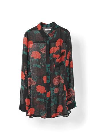 Newman Georgette Shirt, Black, hi-res