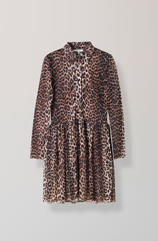 Peirce Mesh Dress, Leopard, hi-res